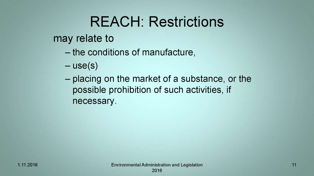 REACH: Restrictions