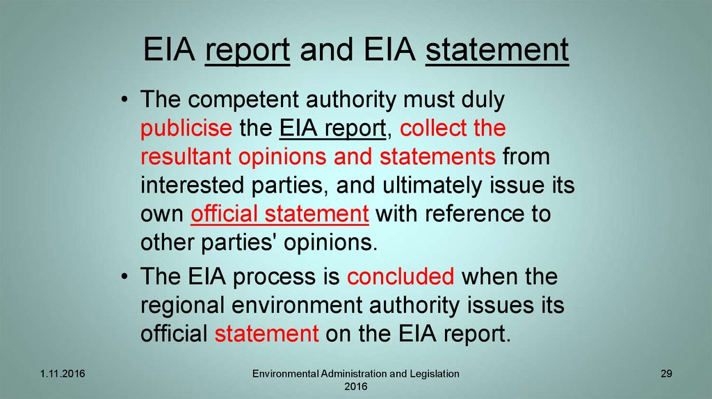 EIA report and EIA statement