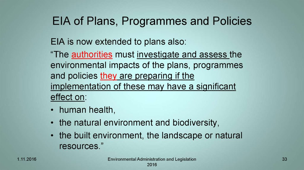EIA of Plans, Programmes and Policies