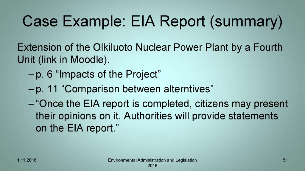 Case Example: EIA Report (summary)
