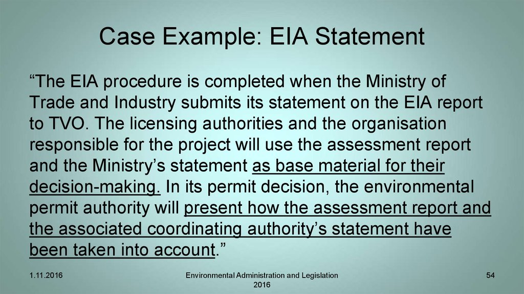 Case Example: EIA Statement