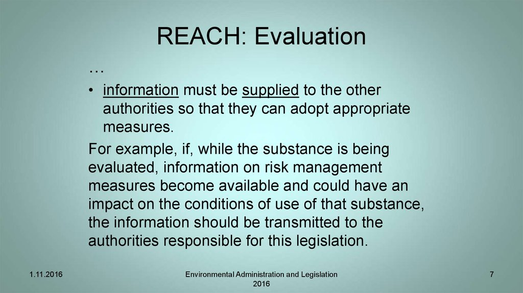 REACH: Evaluation