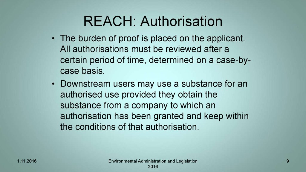 REACH: Authorisation