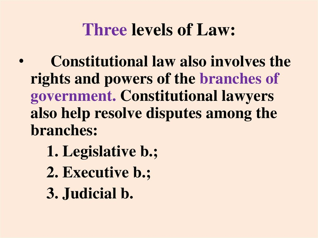 Three levels of Law: