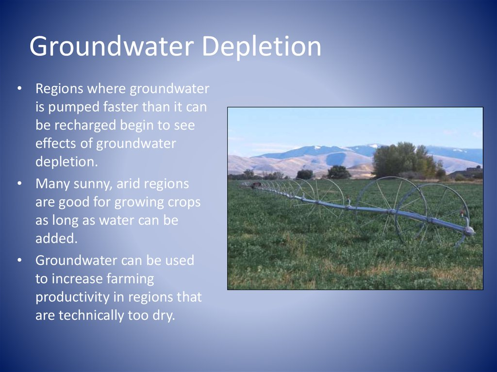 groundwater management groundwater depletion and recharge (v) sustainable groundwater management means the management and use of groundwater in a manner that can be maintained during the planning and implementation horizon without causing undesirable results.