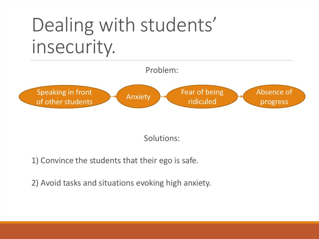 Dealing with students' insecurity.