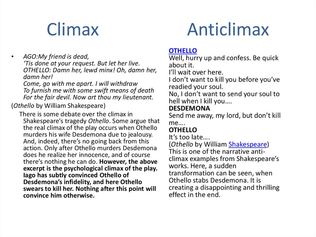 Climax Anticlimax