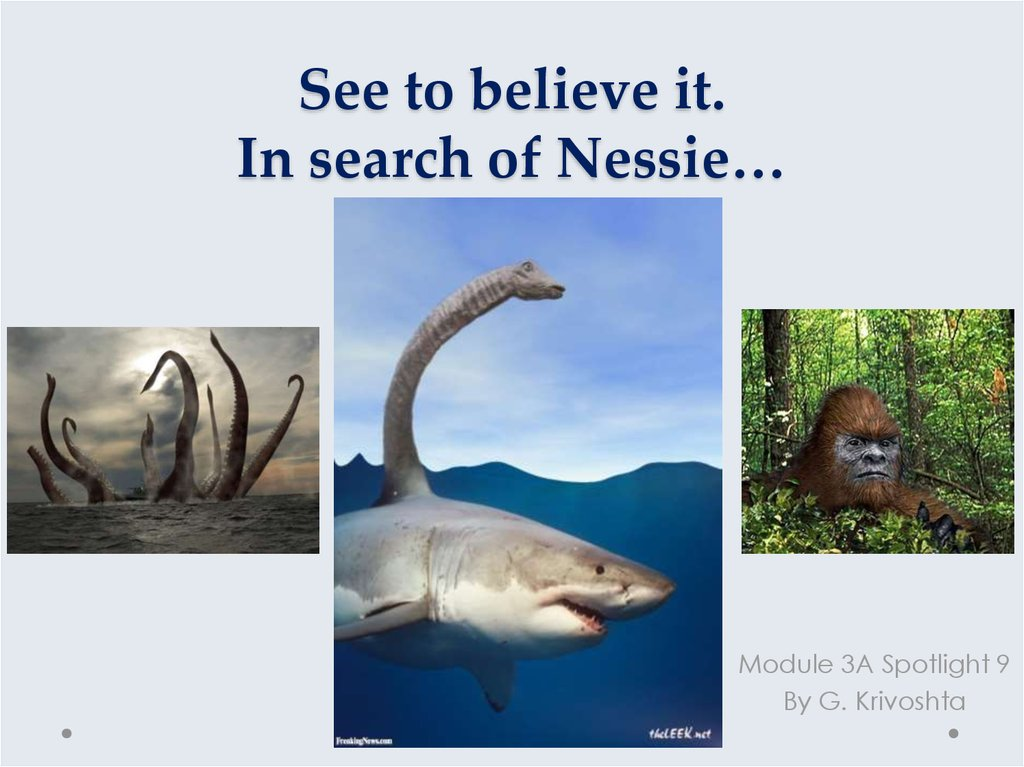 See to believe it. In search of Nessie…