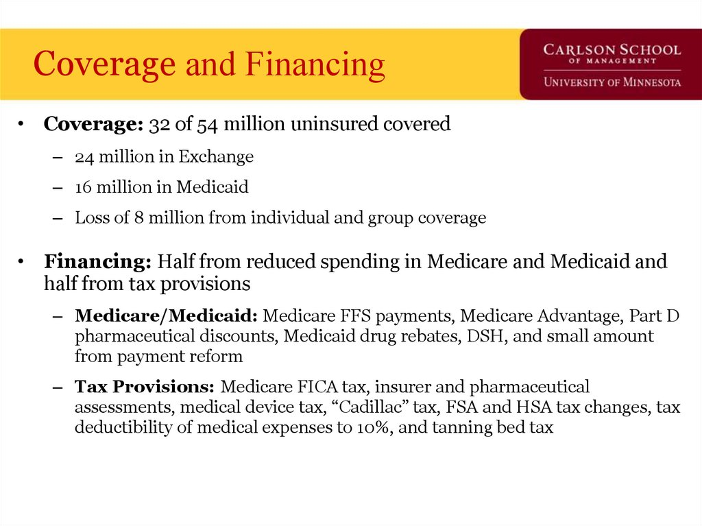 Coverage and Financing