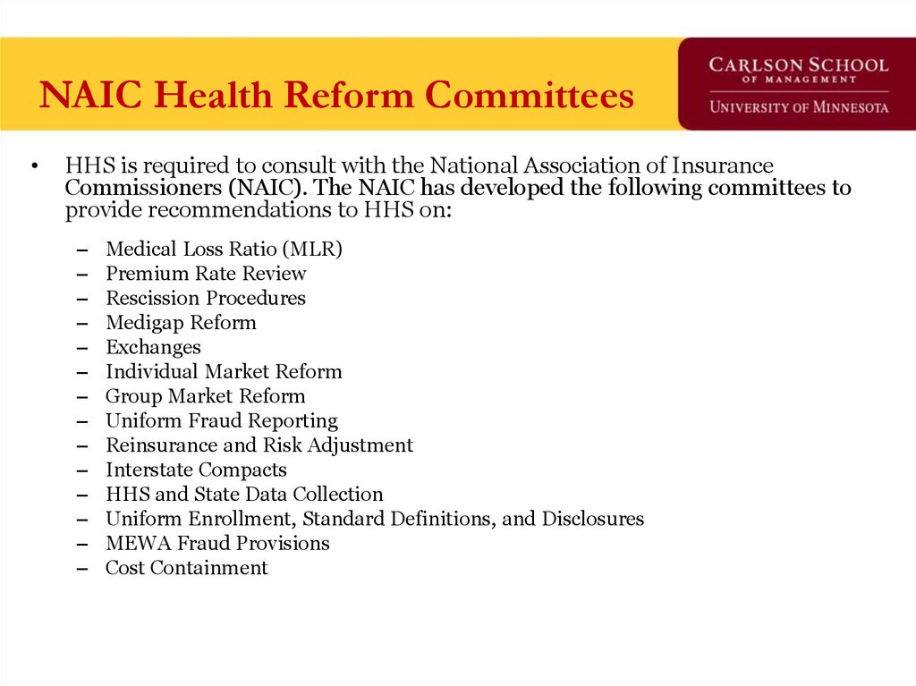NAIC Health Reform Committees