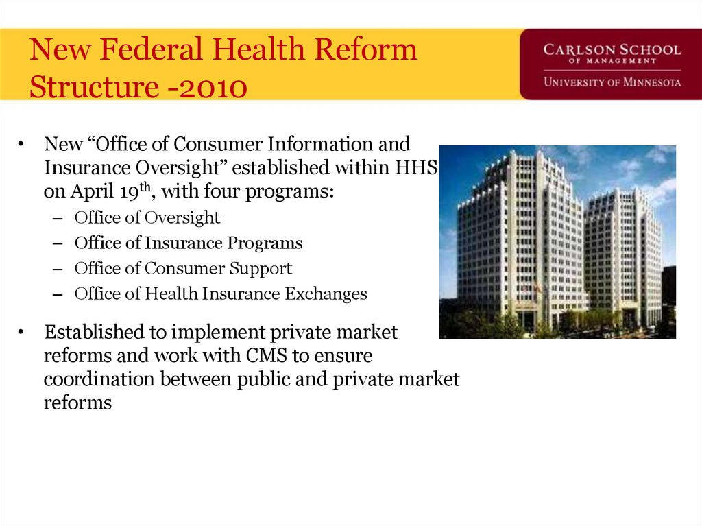 New Federal Health Reform Structure -2010