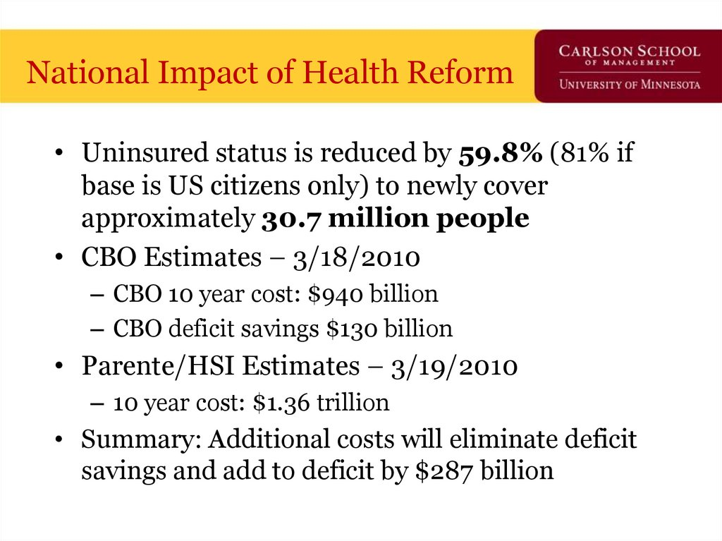National Impact of Health Reform
