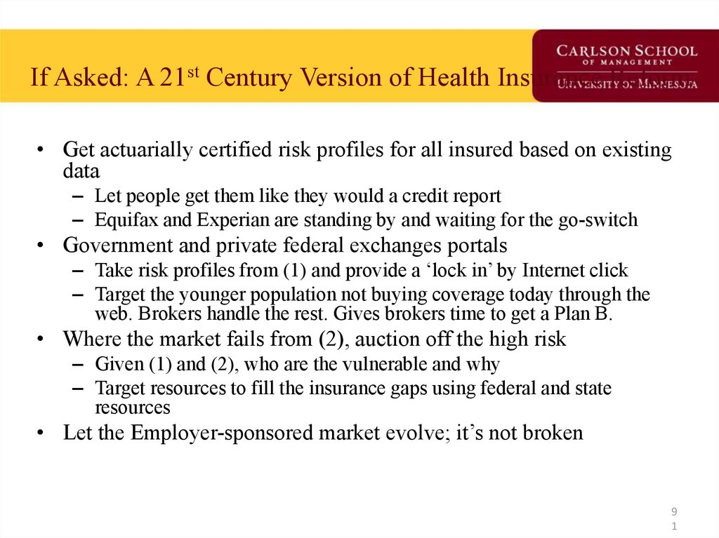 If Asked: A 21st Century Version of Health Insurance Reform