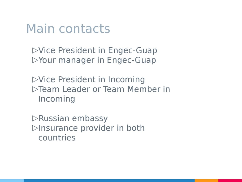 Main contacts