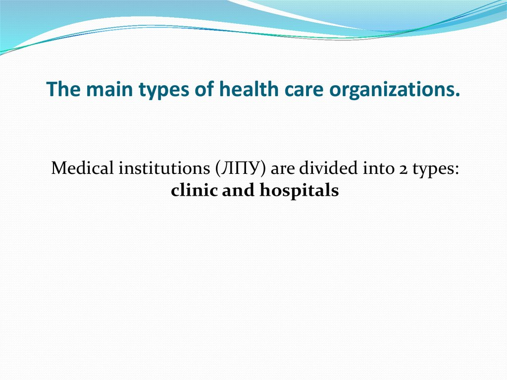 The main types of health care organizations.