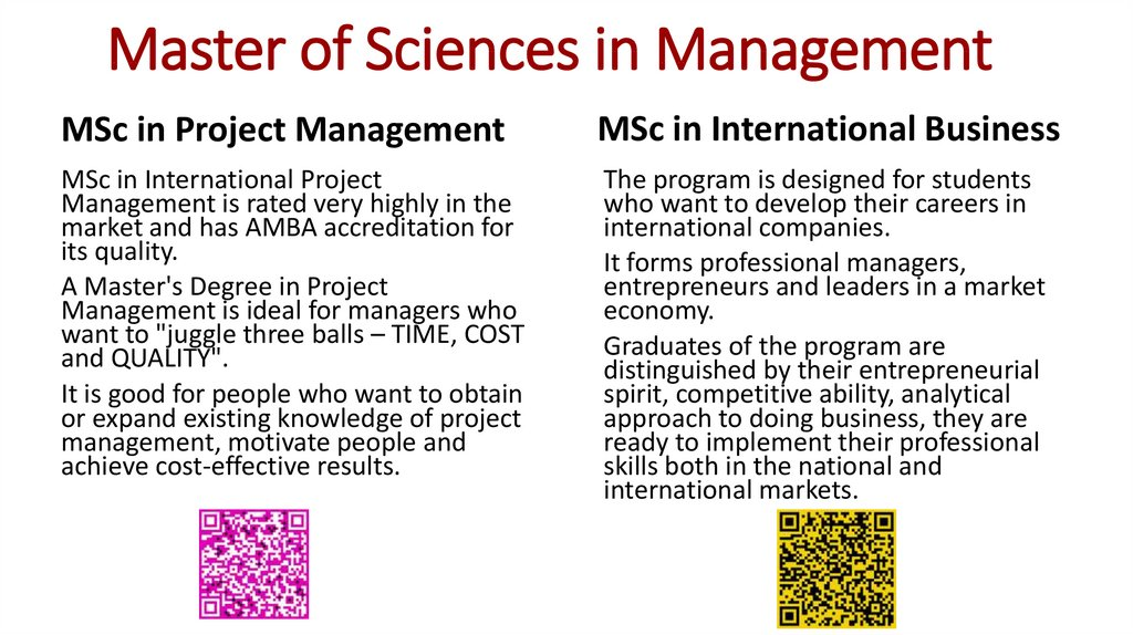 Master of Sciences in Management
