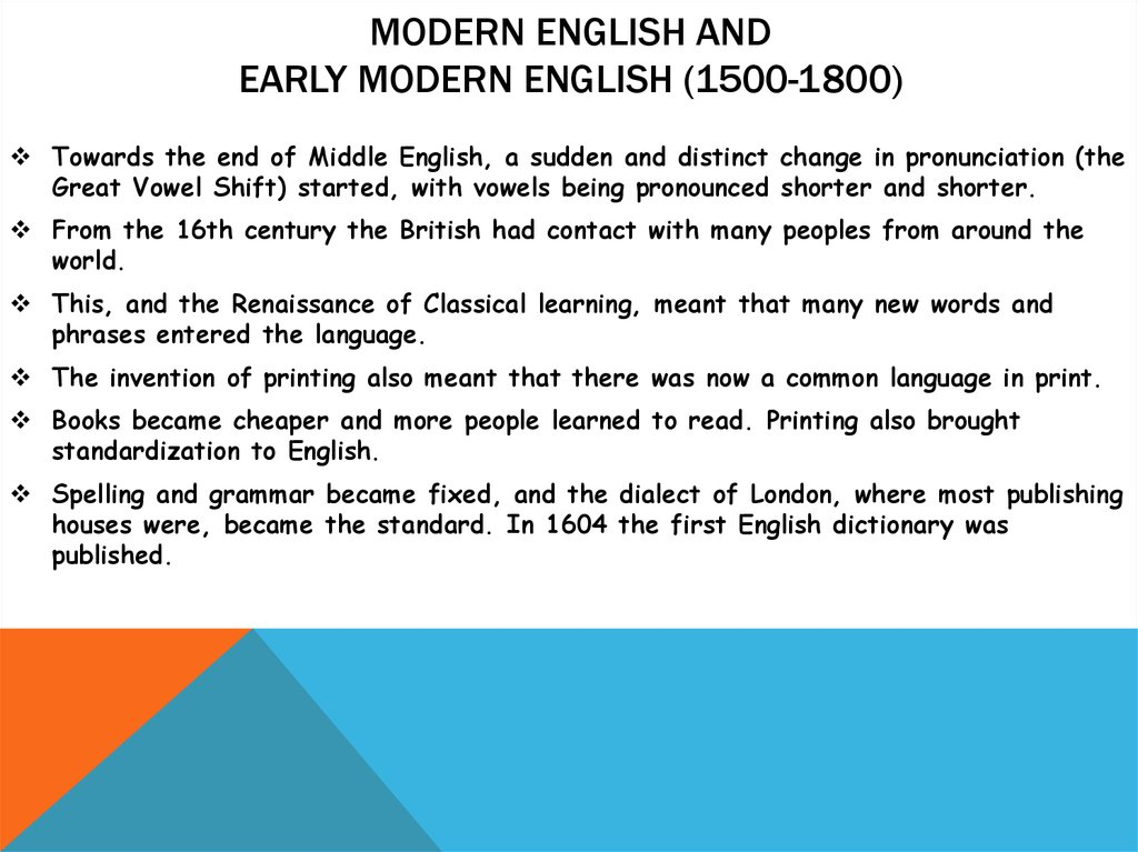 Modern English and Early Modern English (1500-1800)