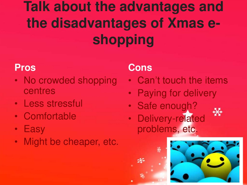 Talk about the advantages and the disadvantages of Xmas e-shopping