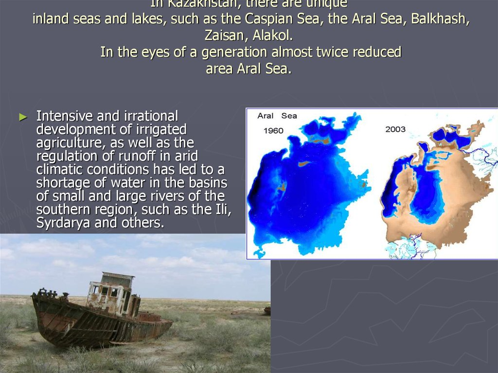 In Kazakhstan, there are unique inland seas and lakes, such as the Caspian Sea, the Aral Sea, Balkhash, Zaisan, Alakol. In the