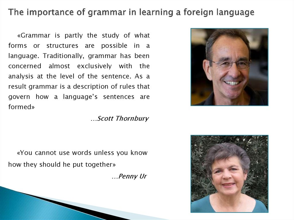The importance of grammar in learning a foreign language