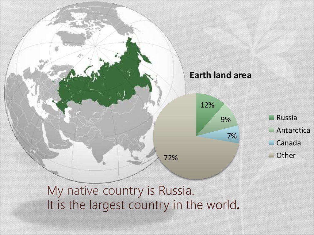 My native country is Russia. It is the largest country in the world.