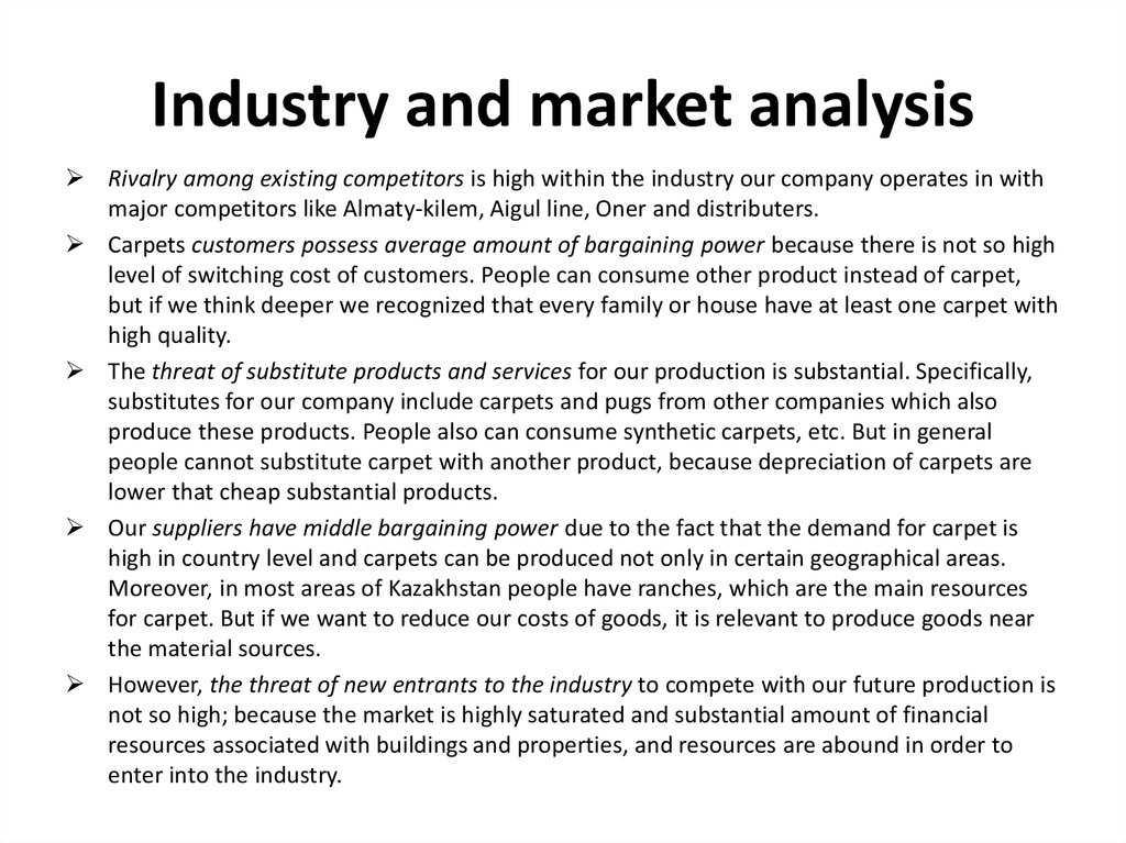 Industry and market analysis