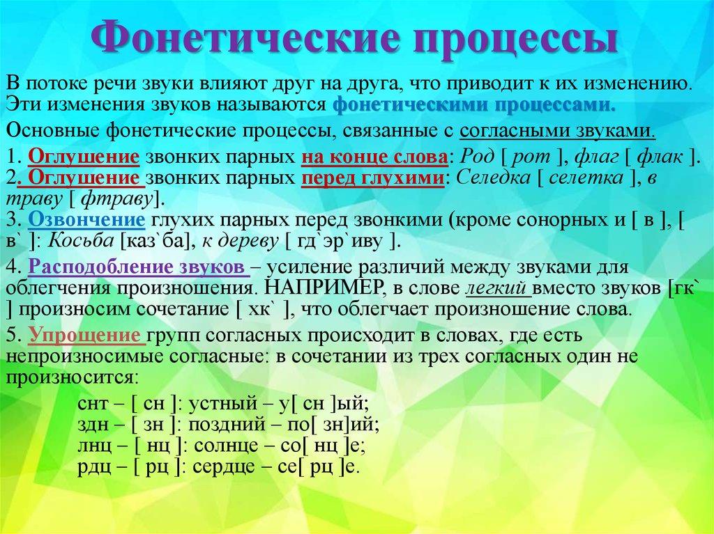 Живые фонетические процессы это