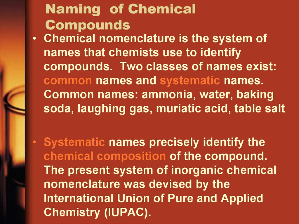 Naming of Chemical Compounds