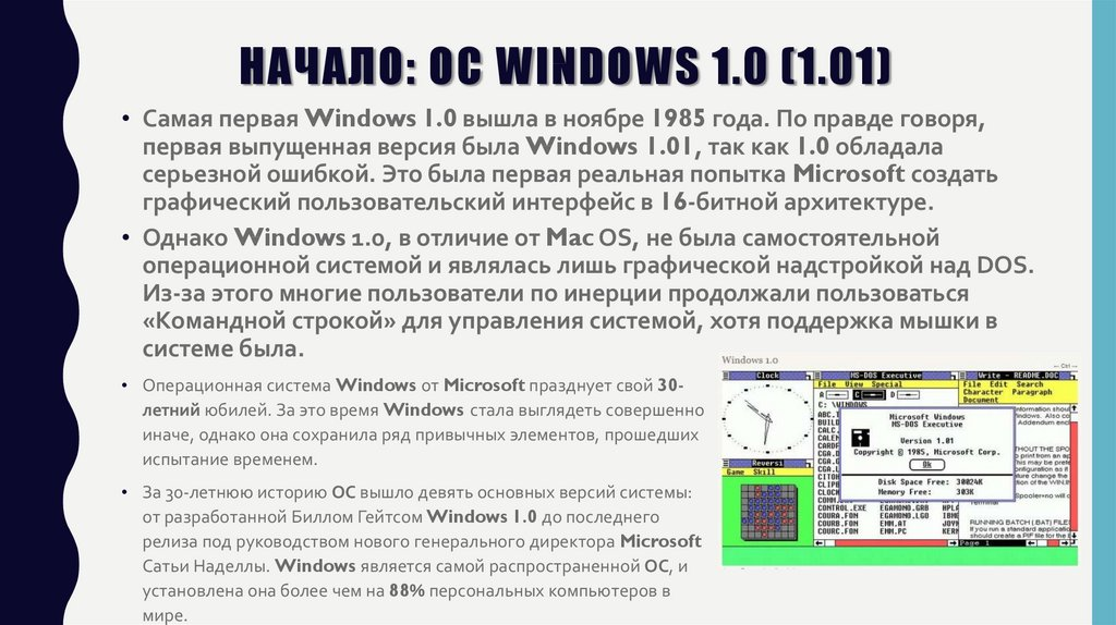 Начало: OC Windows 1.0 (1.01)