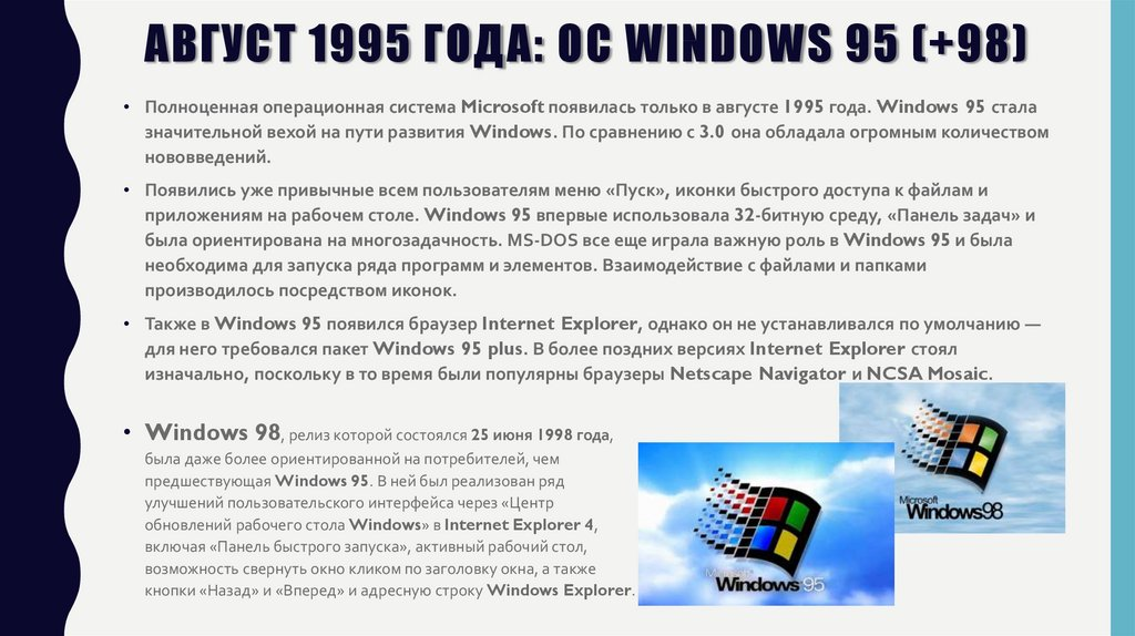 Август 1995 года: OC Windows 95 (+98)
