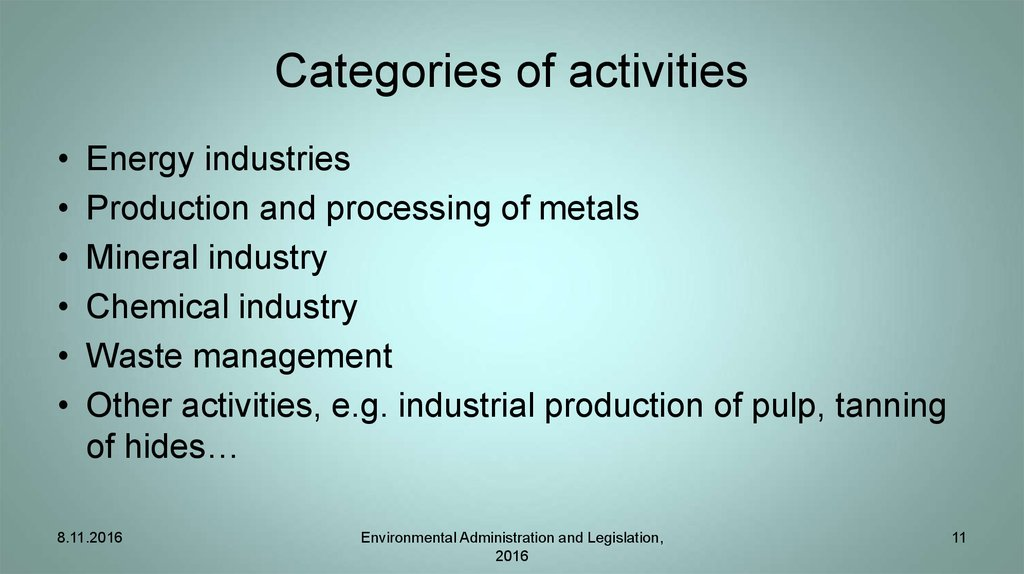 Categories of activities
