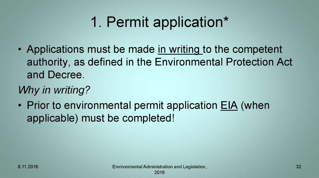 1. Permit application*