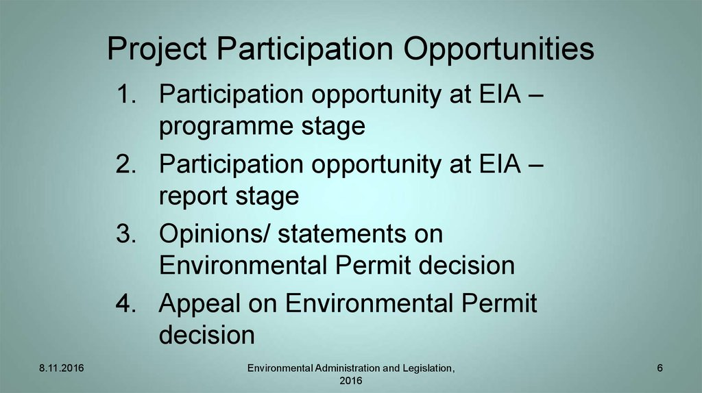 Project Participation Opportunities