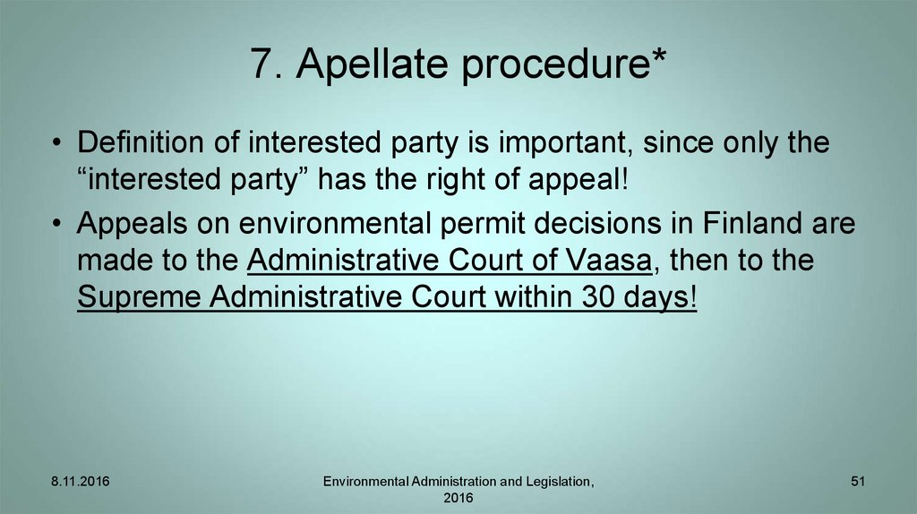 7. Apellate procedure*