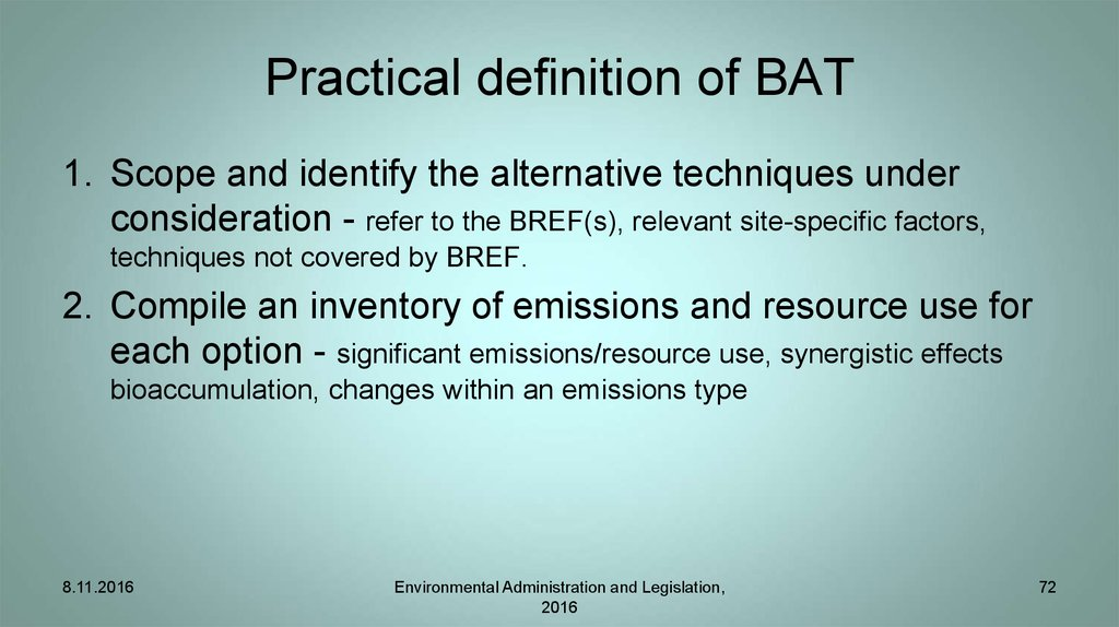Practical definition of BAT