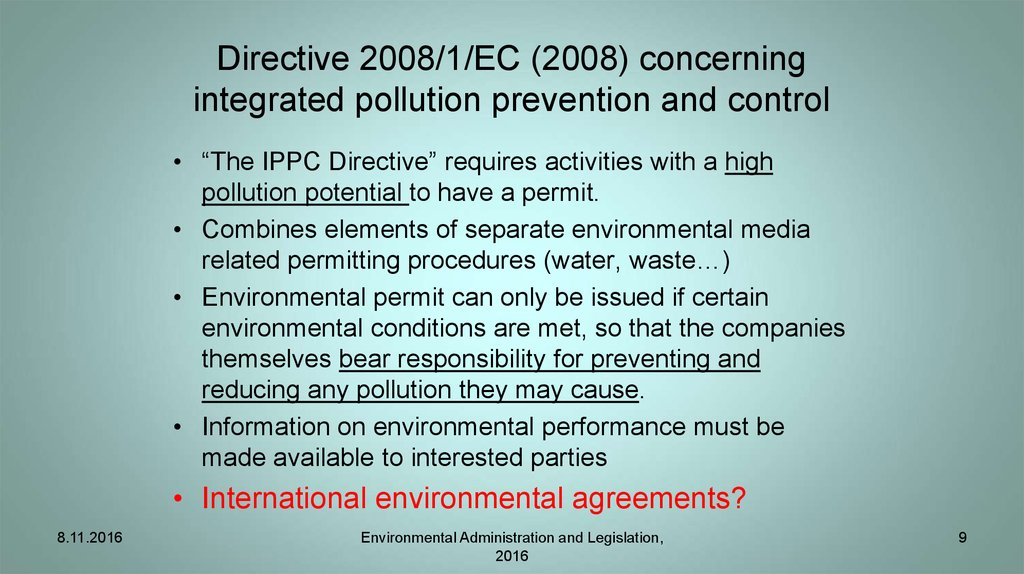 Directive 2008/1/EC (2008) concerning integrated pollution prevention and control