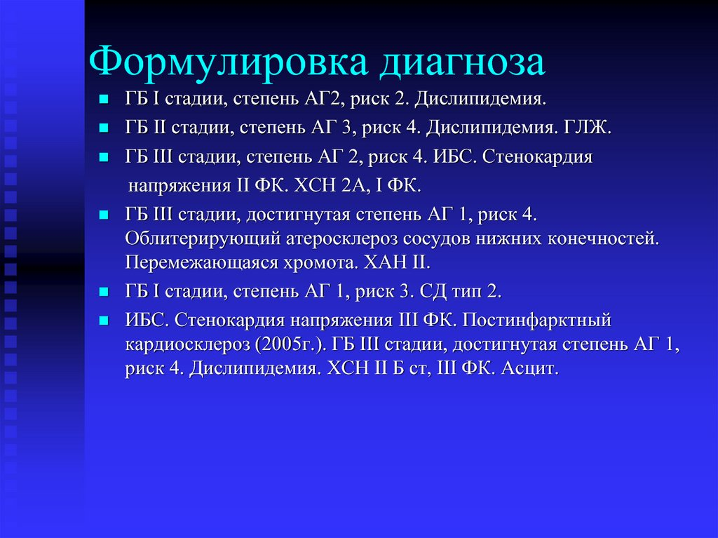 Пример диагноза гипертонической болезни с кризом