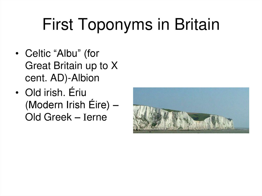 First Toponyms in Britain