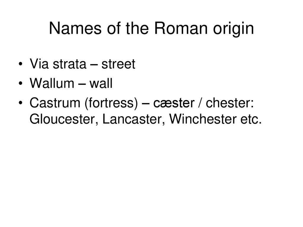 Names of the Roman origin