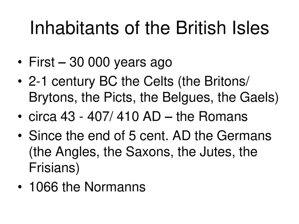 Inhabitants of the British Isles