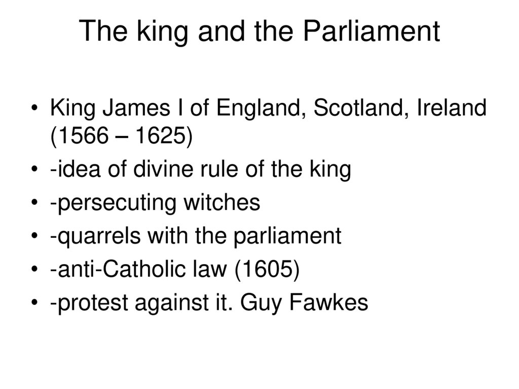 The king and the Parliament