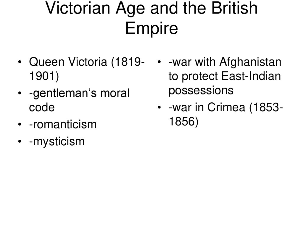 Victorian Age and the British Empire