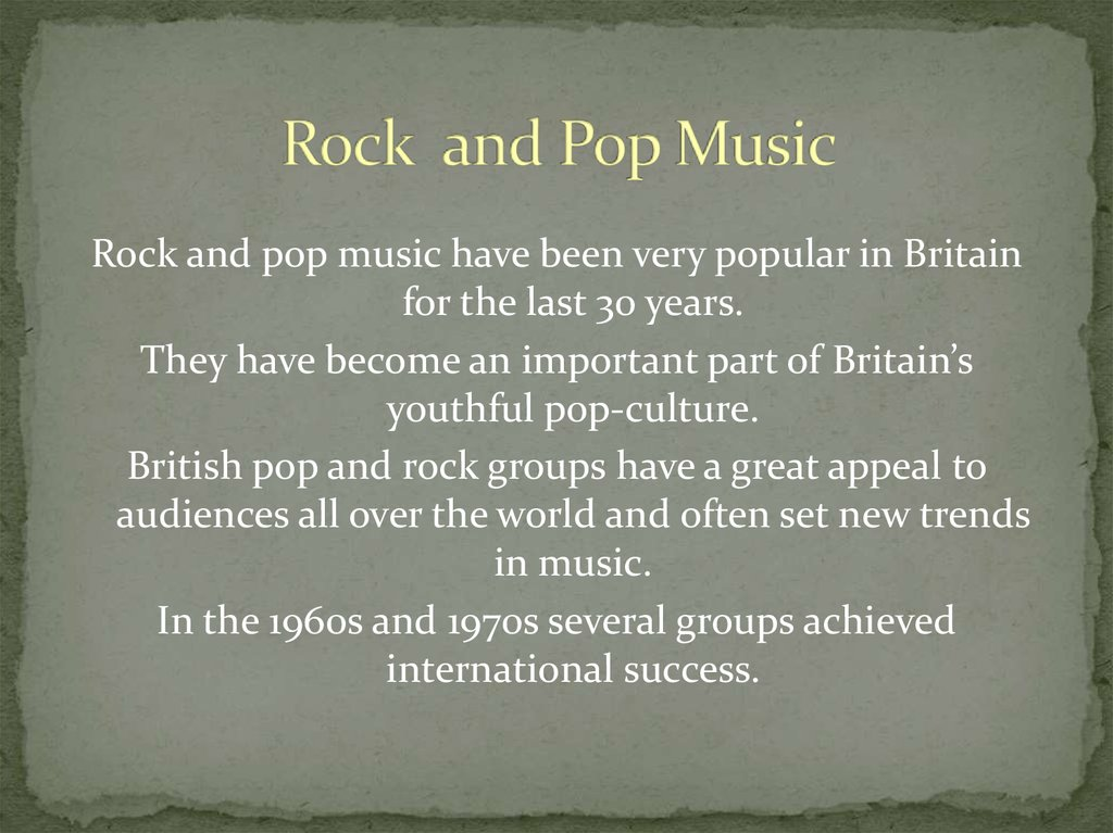 Rock and Pop Music