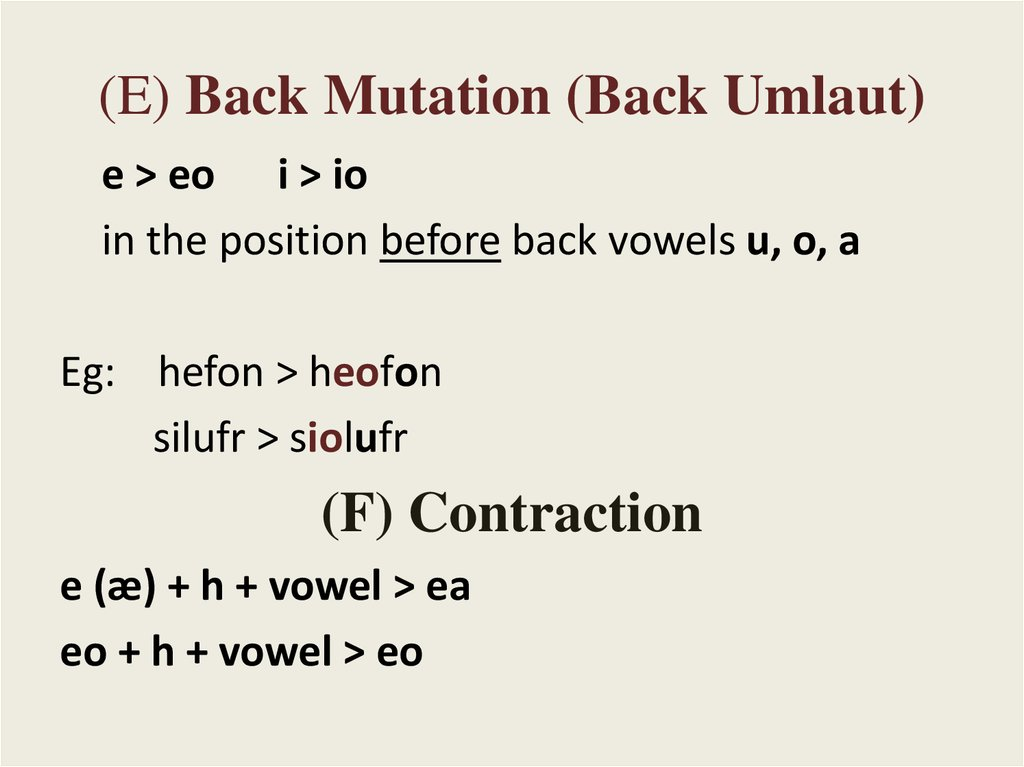 (E) Back Mutation (Back Umlaut)