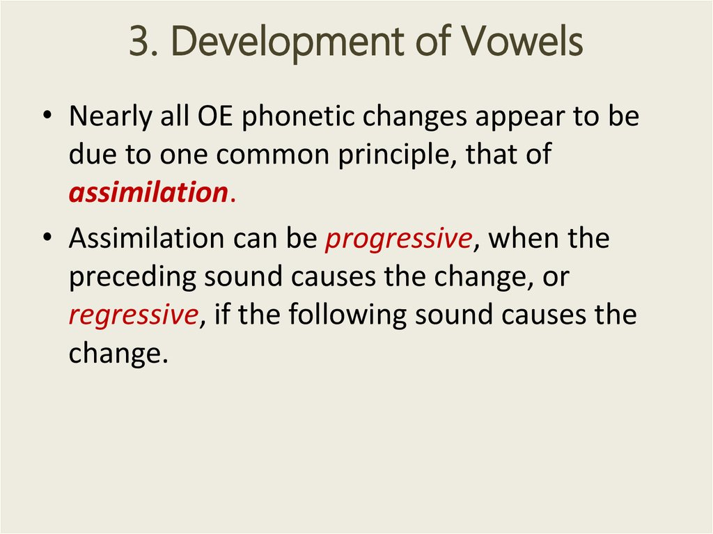 3. Development of Vowels