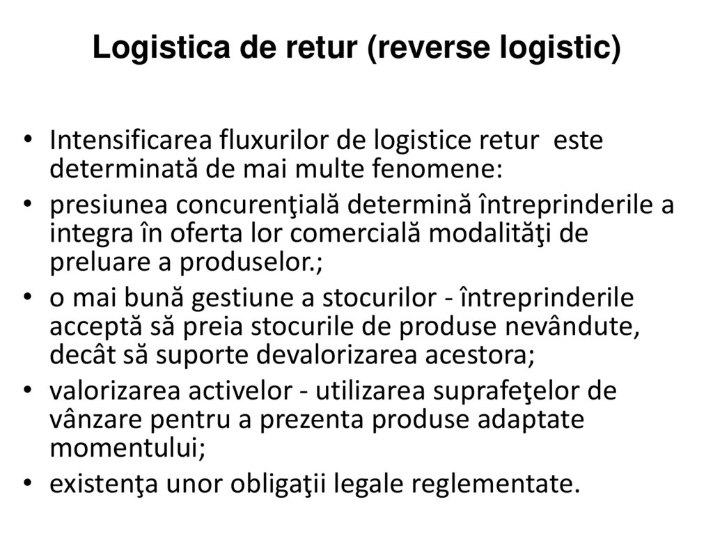 Logistica de retur (reverse logistic)