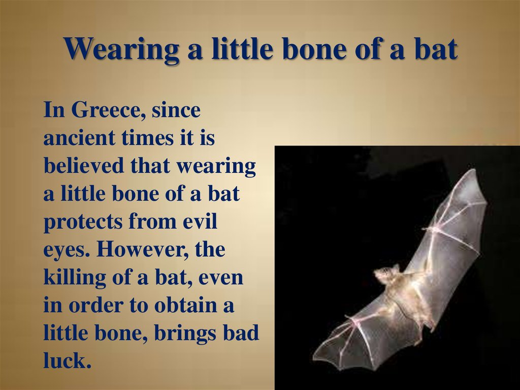 Wearing a little bone of a bat