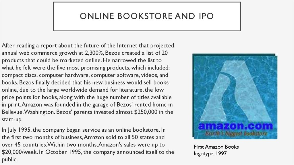 Online bookstore and ipo