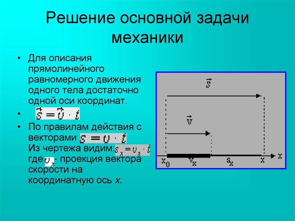 Решение основной задачи механики при равноускоренном движении составить по выражениям задачи и реши их
