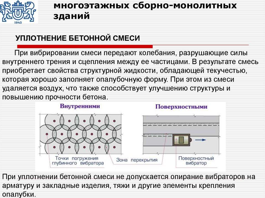 При уплотнении бетонной смеси не допускается опирание виды разрушения бетона при сжатии